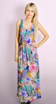 Floral Print Maxi Dress with Elasticated Waist